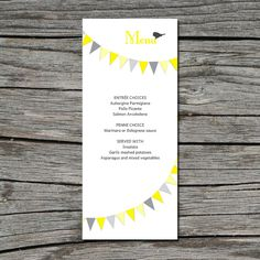Wedding Menu DIY Flag Bunting Birds Printable by ticklemeink, $20.00