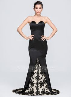 Trumpet/Mermaid Scoop Neck Chapel Train Satin Evening Dress With Appliques Lace (017071547)