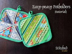 Easy Potholders tutorial with store bought binding by StitchedInColor, via Flickr