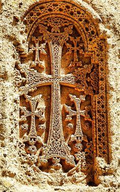 Armenian cross-stone on a 4th century monastery - Armenia