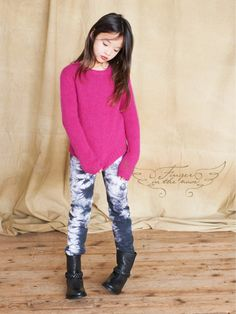 Cute neon pink sweater and tie dye jeans by Finger in The Nose for fall 2013 kidswear