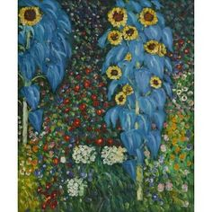 Klimt - Farm Garden With Sunflowers Oil Painting for sale on overArts.com