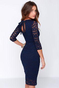 Black Swan Tinsel Navy Blue Lace Midi Dress at Lulus.com!