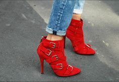 Red criss-cross buckle strap Balmain ankle boots. Christian Louboutin makes a hot pair like this in nude.