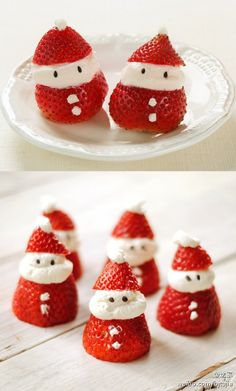 with strawberries & cream, you can make a perfect Santa Claus dessert. cc @Brit Morin Morin