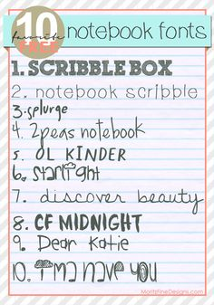 """Looking for some unique """"notebook"""" like fonts? I have put together a variety of fonts that use different handwritten strokes. They will be great for making summer projects, especially for kids! As always, the links Cute Fonts, Fancy Fonts, Awesome Fonts, Summer Font, Typography Fonts, Doodle Lettering, Cursive Fonts, Penmanship, Monogram Fonts"""