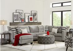 Barkley Heights Gray 3 Pc Sectional Set includes 3 Pc x x Find affordable Sectional Living Rooms for your home that will complement the rest of your furniture. Grey And Red Living Room, Burgundy Living Room, Small Living Rooms, My Living Room, Living Room Designs, Red Living Room Decor, Modern Living, Living Room Sectional, Living Room Furniture