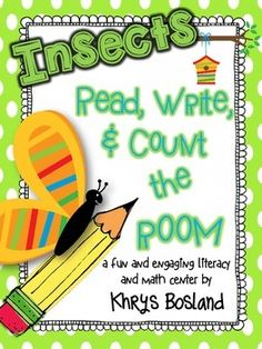 This activity is included in my bundled set: Read, Write, and Count the Room ALL YEAR LONG! Purchasing the bundled set gives you a HUGE discount! :) These engaging and interactive insect activities will make a fantastic addition to your buggy centers! Kindergarten Centers, Kindergarten Science, Kindergarten Activities, Math Centers, Kindergarten Classroom, Preschool Writing, Reading Centers, Writing Activities, Insect Activities