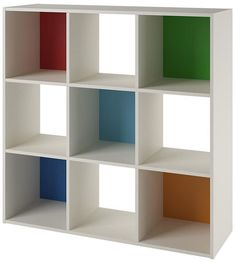 I love the colors on this! How fun for a homeschool room--just add some drawers. Ameriwood Wink 9-Cube Storage Bookcase #aff