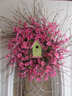 Spring Wreath - Birdhouse Wreath - Summer Wreath - Country Twig Wreath