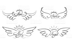 Angel wings drawing vector illustration. Winged angelic tattoo icons royalty-free stock vector art