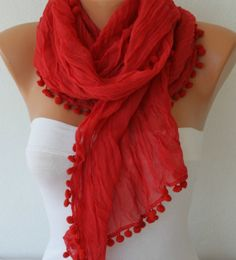 ON+SALE++Red+Shawl+Scarf+++Spring+Scarf+Cowl+Women+by+fatwoman,+$15.00