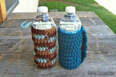 Free Crochet Pattern - Water Bottle Cozy, just made one..love it!