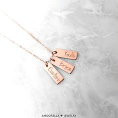 Kids Name Necklace, Personalized Tag Necklace, Roman Numeral Date Necklace, Short Vertical Bar Necklace, Reversible Double Sided Necklace