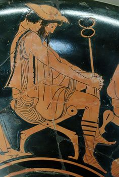Hermes is depicted on this piece of Greek pottery - from the 5th c. BCE - at the Louvre Museum