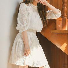 Korean Vintage Sweet Party Dress Vestidos Summer Mini Dress Lace Women Dress Robe Femme Mujer Source by ideas korean Korean Fashion Dress, Korean Dress, Women's Fashion Dresses, Cute Dresses, Vintage Dresses, Short Dresses, White Lace Dress Short, Dress Lace, Casual Dress Outfits