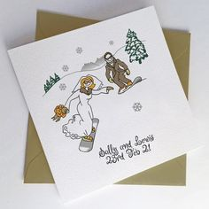 Winter wedding wonderland, getting married in the snow, themed wedding. This can be a greeting card or invitations for winter romances. snow and gold Snowboard Wedding, Ski Wedding, Ski Card, Wedding Stationery, Wedding Invitations, Snowboard Design, Engagement Cards, Romances, Bride Bouquets