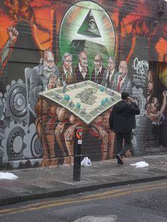 Graffiti art, illumenati - Brick lane