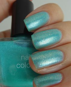 China Glaze White Cap over Marks and Spencer Bright Aqua