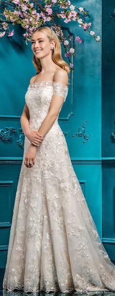 ellis bridals 2018 strapless straight across neckline full embellishment romantic elegant a line wedding dress chapel train (3) mv -- Ellis Bridals 2018 Wedding Dresses
