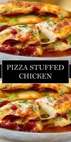 Pizza Stuffed Chicken << #yummy #food Pasta Dinner Recipes, Dinner Dishes, Chicken Pizza, Stuffed Chicken, Frugal Meals, Easy Meals, Good Food, Yummy Food, Sunday Recipes
