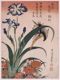 """Kingfisher, carnation, iris"" Artist: Katsushika Hokusai, Completion Date: 1834, Style: Ukiyo-e."