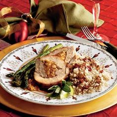 Learn how to make Spiced-and-Stuffed Pork Loin With Cider Sauce. MyRecipes has tested recipes and videos to help you be a better cook. Baked Asparagus, Asparagus Recipe, Pork Tenderloin Recipes, Pork Loin, Pork Roast, Couscous Recipes, Sauce Recipes, Pork Recipes, Stuffing Recipes