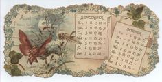 FORGET-ME-NOT CALENDAR FOR 1895 Six panels connected with ribbon and designed to hang <> Raphael Tuck & Sons SEPTEMBER OCTOBER