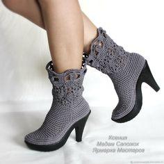 Купить Сапожки женские на каблучке - обувь ручной работы, летняя обувь, темно-серый