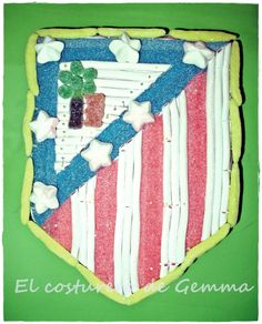 Tarta de chuches del escudo del Atlético de Madrid