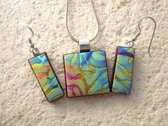 Petite Jewelry Satin Dichroic Necklace & Earring Set by ccvalenzo