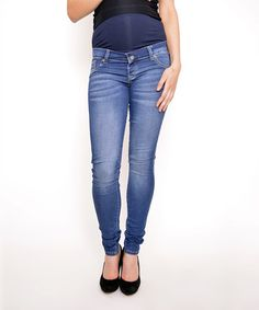 Look at this #zulilyfind! Gor&Sin Navy Blue Maternity Jeans - Women & Plus #zulilyfinds