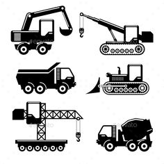 Icons Construction by neyro2008 Set of icons construction. Crane and tractor, excavator, crawler and concrete mixer. Vector illustration