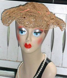 Vtg 1930s 40s Woven Hemp Lace Pancake Platter Wide Brim Picture Toque Dress Hat