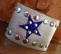 SILVER leather cuff bracelet with blue star STUDDED by whackytacky, $39.99