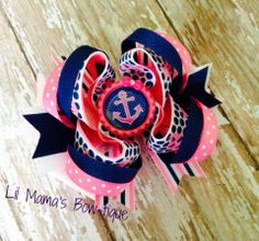 Pink and Blue Anchor Nautical Stacked Twisted by lilmamasbowtique, $9.00