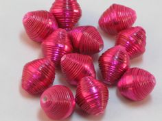 Paper beads-Purple Tinted beads- Recycled paper beads- Loose paper beads- Beading supplies Jewelry Supplies- Upcycled- Hot Pink Beads- by SunshineJStudio on Etsy
