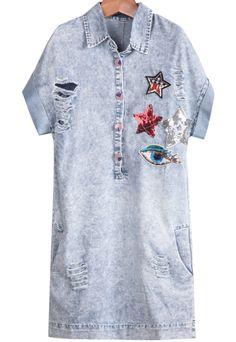 Blue Lapel Short Sleeve Star Eye Pattern Ripped Dress 23.33