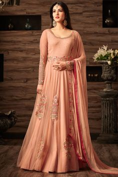 Peach Color Net Fabric Heavy Embroidery Work Gorgeous Indian Look Traditional Occasionally Fashion Bollywood Designer Stylish Sonal Chuahan Floor Length Anarkali #Maishamaskeenquinn #designeranarkali #partywear #weddingwear #traditionalsuits #casualwear #modelsuits #indianwomenfashion #Fashion #peachcolor #quinncollection #latestfashion #bridalwear #bridesfashion #Anarkalis #salwarkameez #salwarsuits #floorlengthanarkali #shadiseason #Georgettedress #France #usa #embroideredsuits…