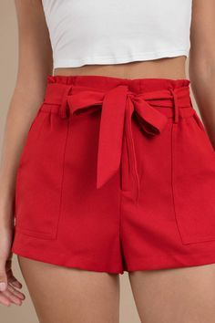 Eloise Red Belted High Rise Shorts Source by eezaga outfits bajitas Belted Shorts Outfits, Tie Shorts, Flowy Shorts, Red High Waisted Shorts, Modest Shorts, Jean Shorts, Mode Outfits, Short Outfits, Woman Clothing