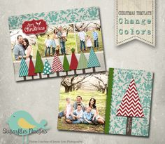 Christmas Card PHOTOSHOP TEMPLATE - Family Christmas Card 90 by SugarfliesDesigns on Etsy https://www.etsy.com/listing/165173486/christmas-card-photoshop-template-family