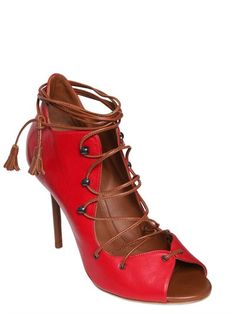 malone souliers - women - boots - 100mm leather open toe lace-up boots