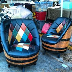 Love these chairs in B71!! #MelroseTradingPost #fleamarket #leather #furniture | Melrose Trading Post