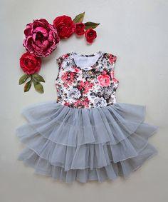 Love this Gray & Red Floral Tiered Tutu Dress - Infant, Toddler & Girls on Kids Tutu, Toddler Tutu, Toddler Outfits, Kids Outfits, Infant Toddler, Baby Tutu Dresses, Baby Gown, Little Girl Dresses, Girls Dresses