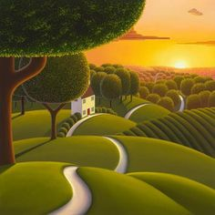 Sunlight Over The Tree Tops - a cheerful canvas on board by popular landscape artist Paul Corfield, as part of our Autumn 2017 collection.