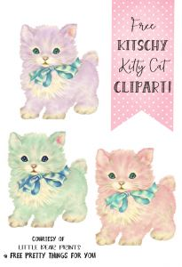 Kitschy Kitty Cat Clip Art with Little Dear Prints - Free Pretty Things For You Cat Crafts, Paper Crafts, Cat Clipart, Printable Scrapbook Paper, Vintage Cat, Bullet Journal, Free Prints, A 17, Illustrations
