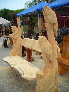 chainsaw carved owl bench - Google Search