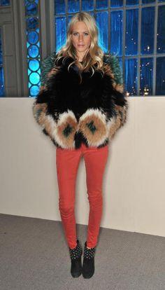 Poppy Delevigne in the Verdugo Ultra Skinny in Scarlet by Paige Denim.