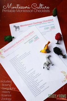 Printable Montessori Checklists for Botany, Geography, History, Science and Zoology. Plan your homeschool with these easy check lists.