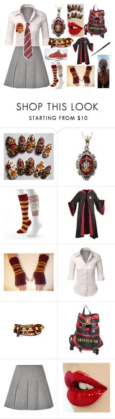 """Gryffindor"" by kiara-fleming ❤ liked on Polyvore featuring Alkemie, Converse, LE3NO, Hot Topic, Disney and T By Alexander Wang"